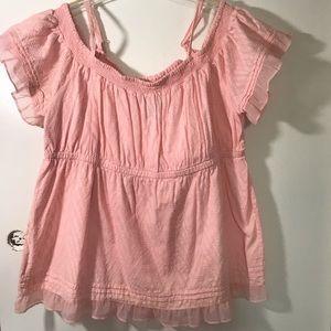 Torrid Pale Pink Cold Shoulder Babydoll Cotton Top